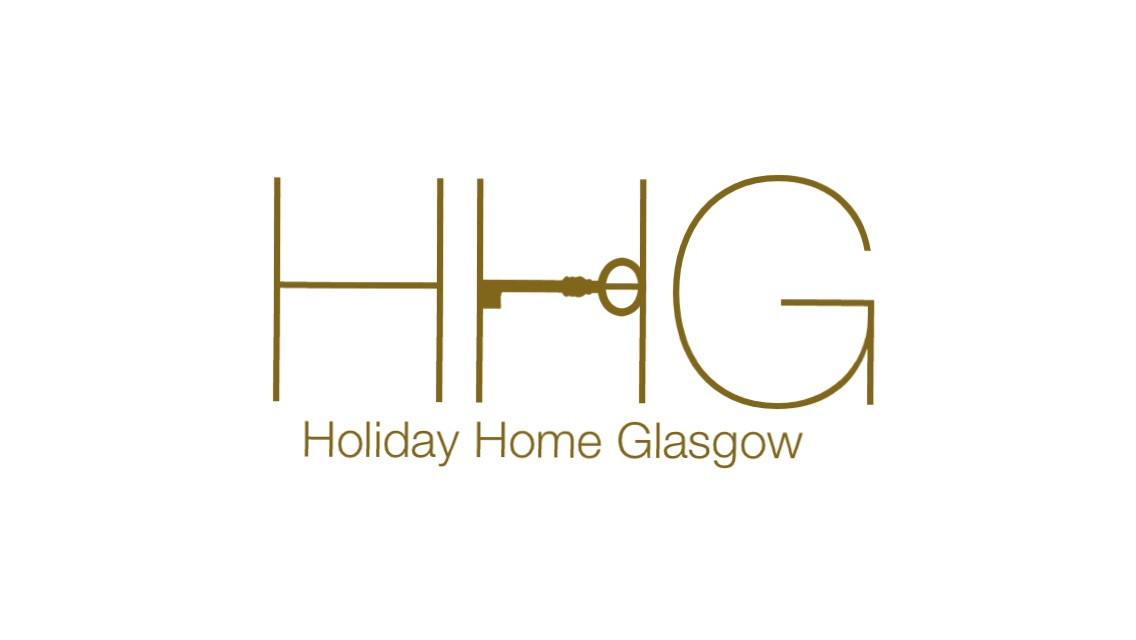 Holiday Home Glasgow Logo with three gold letters and a gold key